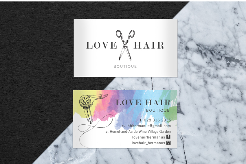 Love Hair Boutique Business cards front and back