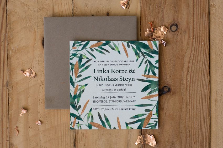 Olive leaf and rose gold wedding inspiration5