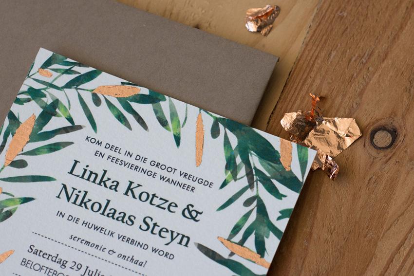 Olive leaf and rose gold wedding inspiration4